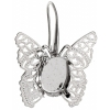 Filigree Earring setting 26x27mm Butterfly Imitation Rhodium